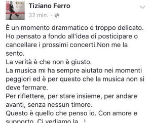 Il post Facebook di Tiziano Ferro