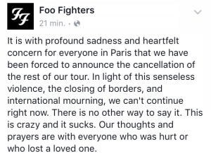Il post Facebook dei Foo Fighters